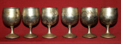 Vintage set 6 small silver plated goblets