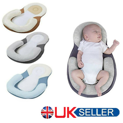 Newborn Baby Anti-Roll Head Cushion Pillow Prevent Flat Sleep Nest Pod 2 Colors