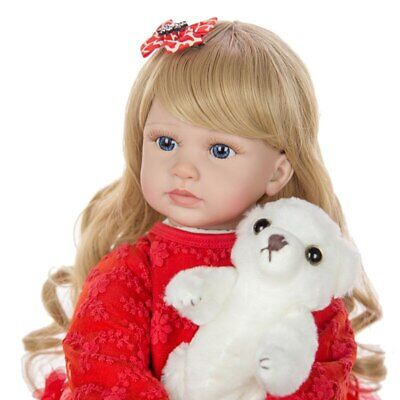 """24"""" Reborn Baby Dolls Vinyl Silicone Real Long Hair Toddler Doll Girl Gifts Toys"""