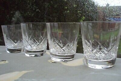 Vintage set of 4 stuart cut crystal glengarry whiskey tumblers good condition,