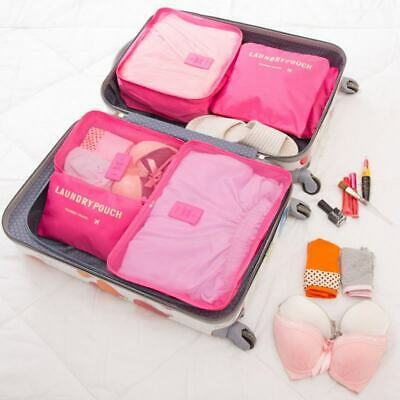 6Pcs Organiser Set Luggage Suitcase Storage Bags Clothes Travel Packing Cubes US