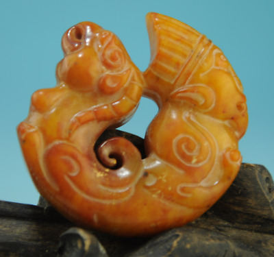 Collection chinese old jade Handwork sheep Statue antique amulet pendant 0203