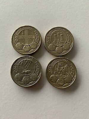 Capital Cities £1 One Pound Coins Set Of 4 Edinburgh, Cardiff, London & Belfast