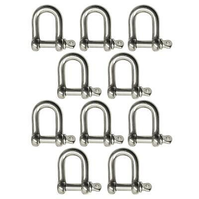 10 Pack 4mm Stainless Steel Dee Shackle Marine Grade 316