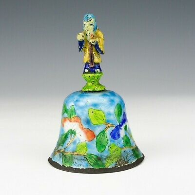 Vintage Chinese Cantonese Enamel Oriental Flower Decorated Table Bell - Lovely!
