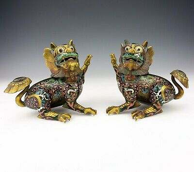 Antique Pair Of Chinese Cloisonne - Oriental Foo Dragon Dog Censers - Unusual!