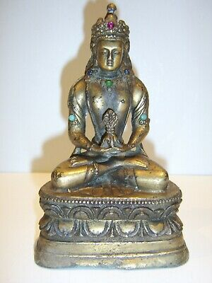 Old Antique Chinese Tibetan gilt bronze buddha Bejewelled turquoise Very Rare