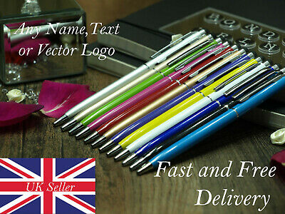 PERSONALISED Coloured LIGHT UP LED BALLPOINT PEN with STYLUS slogan any name