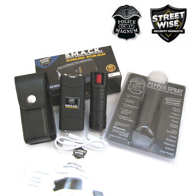 Streetwise MINI Keychain STUN GUN & Police PEPPER SPRAY Bundle SMACK 16Mil Black