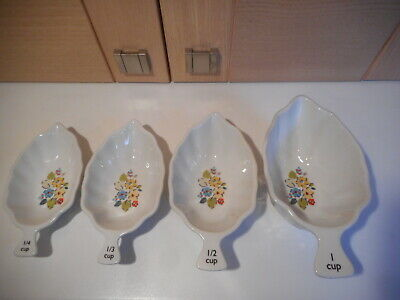 Cath Kidston Woodland Rose Set Of 4 Stackable Leaf Shaped China Measuring Cups