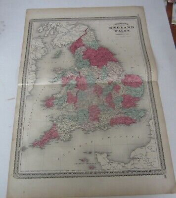 Original Old Antique - 1865 Johnson's - MAP OF ENGLAND and WALES