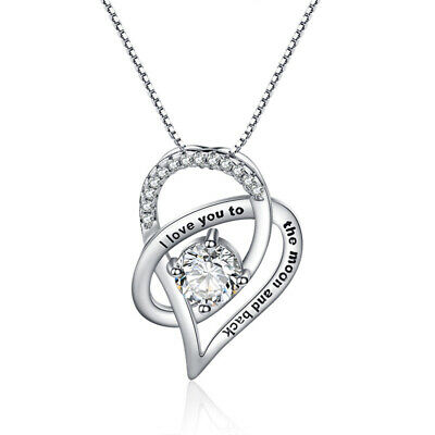 I Love You To The Moon and Back Heart Necklace Made with Swarovski Crystals 18""