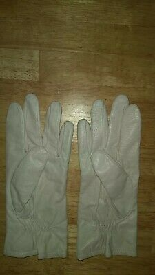Fownes Genuine Leather Wn Ivory Gloves Vintage WPL9522 100% ACRYLIC LINING 7.5