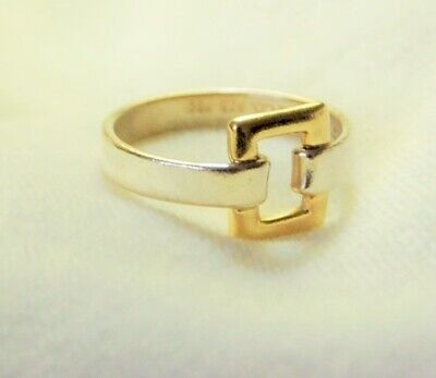 FUN TIFFANY 18K GOLD AND STERLING BUCKLE RING  Open square design