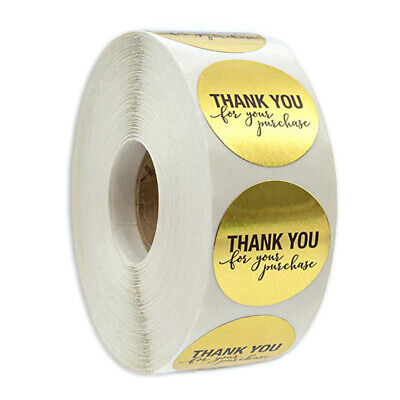 500pcs Round Thank You for Your Purchase Gold Labels Stickers Gift Craft Box
