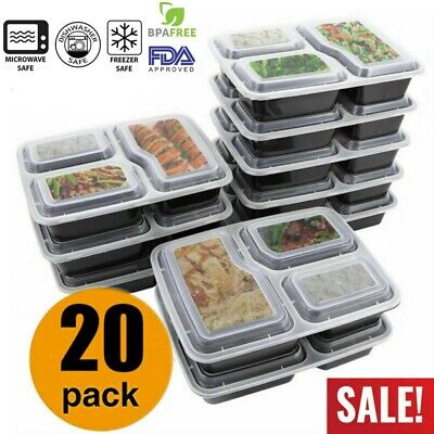 20x Food Containers Meal Prep Microwavable BPA Free Plastic Reusable Lunch Boxes