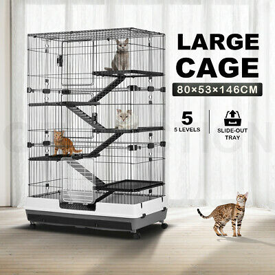 5-Level Rabbit Cage Hutch Metal Cat Ferret Guinea Pigs House Small Animal Home