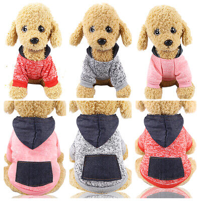 Pets Dog Sweater Dogs Clothes Sports Hoodie Jumper Coat Puppy Cat Apparel UK W