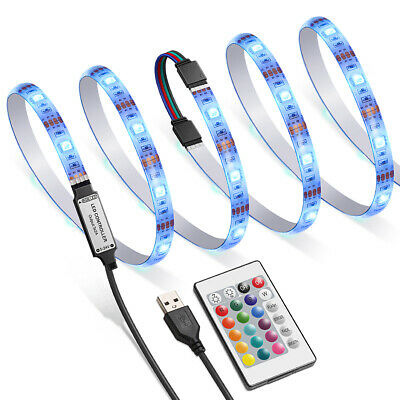 4x 50cm 30 LED 5050 TV Backlight 16 Colour Changing RGB Strip Lights + Remote