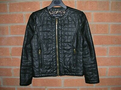 MATALAN Girls Black Faux Leather Quilted Bomber Jacket Age 8-9 134cm