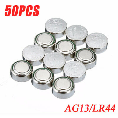 50pcs 1.5V AG13/LR44/LR1154/A76 Button Cell Coin Battery Batteries