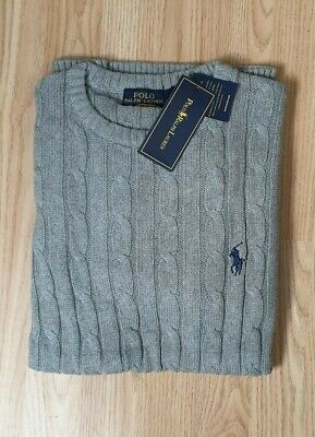 Polo Ralph Lauren cable knit jumper crew neck sweater pullover jumper  XL Grey