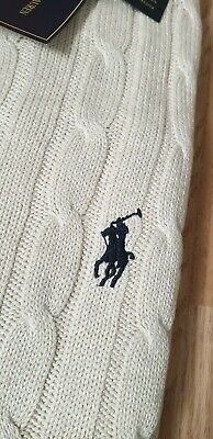 Polo Ralph Lauren cable knit jumper crew neck sweater pullover jumper  M Oatmeal