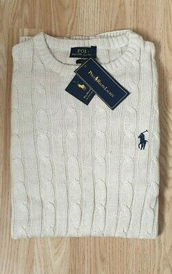 Polo Ralph Lauren cable knit jumper crew neck sweater pullover jumper XL Buscuit