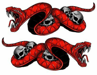 "Yamaha YZF R1 F6 FZ YZF600 Red Snake Motorcycle Stickers 8"" Decals"