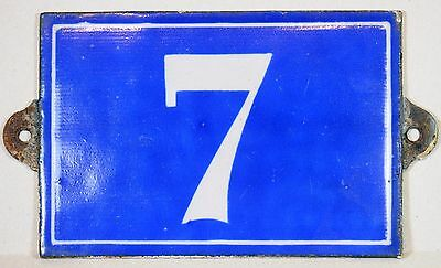 Large C19th French house number 7 door plate plaque enamel cast iron metal sign