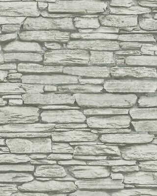 Marburg Tapete Imaginar 81901 Pared de Piedra Natural Muro Gris Claro Fieltro