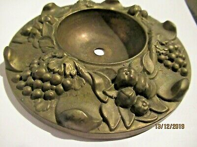 Superb Antique Vintage Pressed Brass Ornate Ceiling  Pendant Light Fitting Rose
