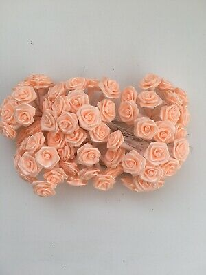 72 X 1cm Peach Wire Stem Satin Ribbon Roses Wedding Bridal Flowers Job Lot