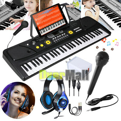 61-Key Electronic Keyboard Portable Digital Music Piano with USB, Mic, & Headset