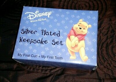 Disney Winnie The Pooh Silver Plated Keepsake Set - First Curl & Tooth. New