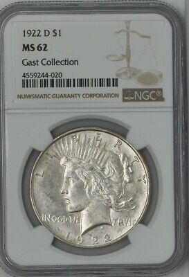 1922-D Peace Dollar $ Gast Collection MS62 NGC 942377-2