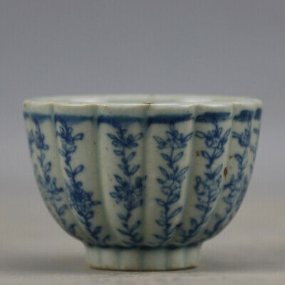 Chinese hand-carved porcelain Blue & white flower pattern Kung fu tea cup b01
