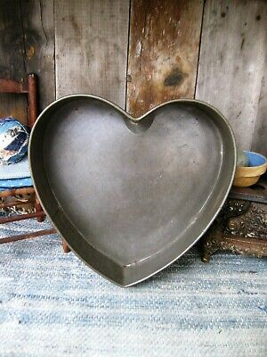 """LG Early Antique Tin Heart Cake Pan w Rolled Edges 12"""" Free Shipping"""