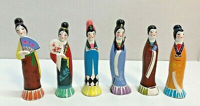 "Vintage Set of 6 Asian Woman Figurines Colorful Painted China Skinny 4"" Tall"