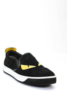 Fendi Mens Monster Black Suede Studded Slip On Sneakers Shoes Size 9