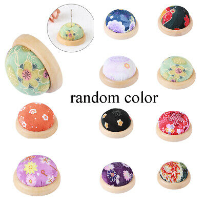 Ball-Shaped Sewing Pin Cushion Needle Holder Pillow Wooden bottom Floral