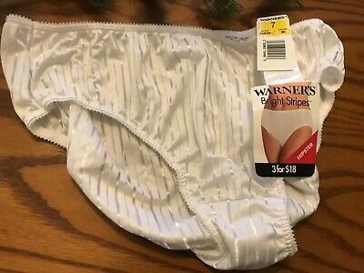 Vintage 1970's Warner's Satin Bright Stripes HIPSTER Panties size 7 55632 NWT