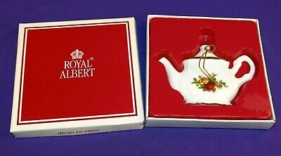 1962 Royal Albert Christmas Ornament Fine China Old Country Roses Teapot