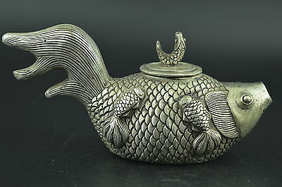 China Old Decorated Miao Silver Carving Lovely Fish Shape Rare Lucky Teapot n