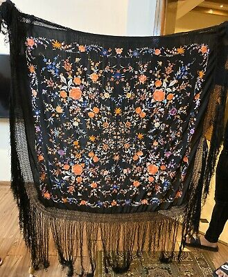 """Antique Chinese Hand Embroidered Silk Piano Shawl 48"""" X 48"""" Fringe 20"""""""
