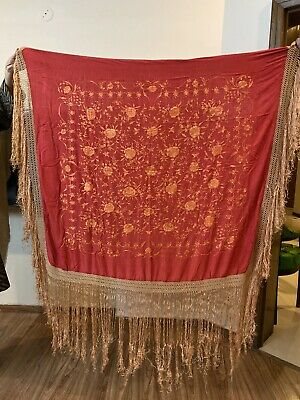 """Antique Chinese Hand Embroidered Silk Piano Shawl 47"""" X 45"""" Fringe 16"""""""