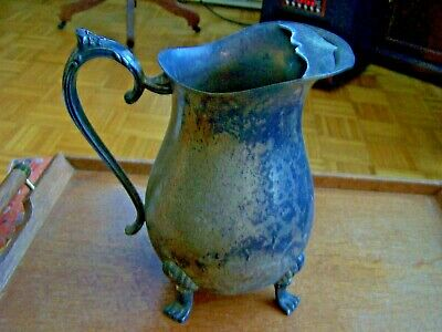 Leonard Silverplate Water Pitcher-Ice Lip-Needs Polishing