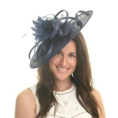 Navy Blue Feather Fascinator..Hatinator shaped disc Wedding.races.crystals..new