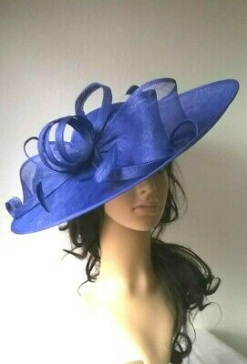 New Blue  Sinamay Bow trim Hatinator.hat.Large saucer disc Wedding.races.