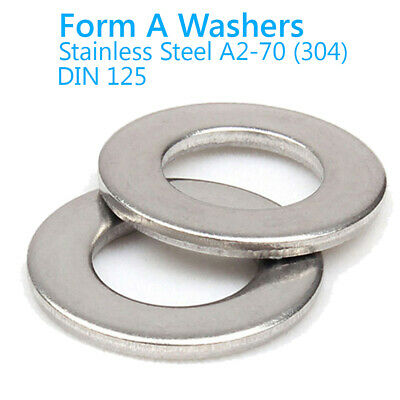 10mm - M10 FORM A FLAT WASHERS STAINLESS STEEL A2 WASHER DIN 125